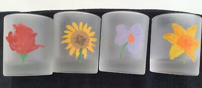 """Set Of 4 """"dartington Designs  Frosted Glass Tumblers Flower Designs • 30£"""
