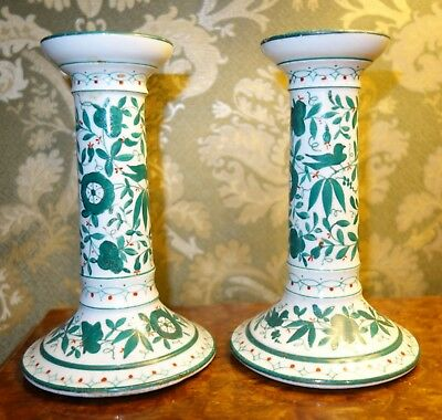 A Pair Of 19th Century Porcelain Candlesticks With   JR  Signature/mark • 25£