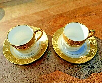 LIMOGES FRANCE CH.FIELD HAVILAND 2 X SMALL COFFEE CUPS & SAUCERS, GOLD WHITE CAN • 10£