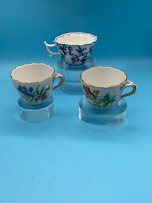 A Collection Of Three Meissen Coffee Cups All Hand Painted • 19.99£