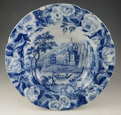 Antique Pottery Pearlware Blue Transfer Russian Palace Pudding Bowl 1825 • 9.99£