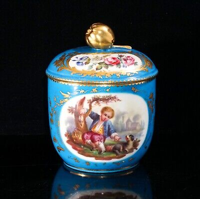 Sevres Bleu Celeste Sugar Pot With Cover, Decorated With Gilt And Painted Panels • 200£
