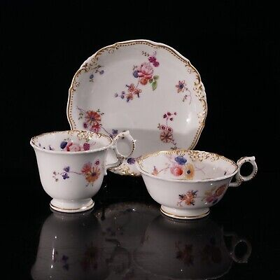 Antique Coalport Trio - 2 Cups And Saucer, Adelaide Shape, Moulded Flowers Lot 1 • 35£