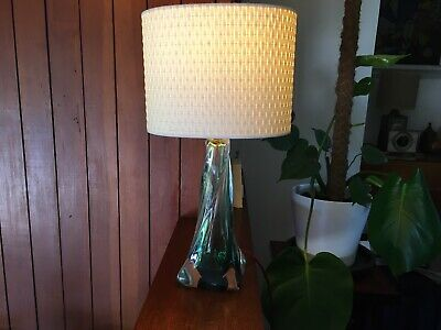 Vintage Val St Lambert Twisted Glass Lamp Base In Green And Clear • 150£