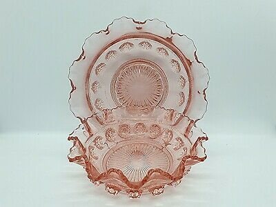Two Vintage Rose Pink Pressed Glass Ruffled Bowls  • 15£