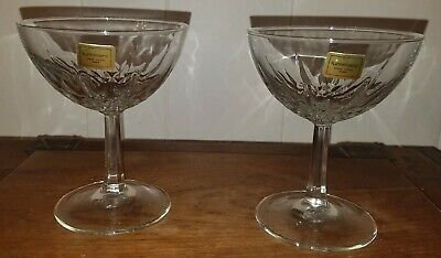 NWT Luminarc France Pair Of Clear Cut Glass Coupe Champagne Glasses Stemware  • 11.96£