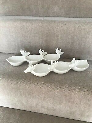 Christmas Trio Serving Dishes, Plain White With Decorative Deer Heads • 3.50£