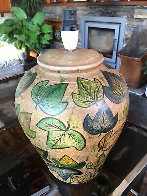 Vintage 1950s Large Studio Pottery Vase With Stylised Leaf Decoration -Italian?? • 55£