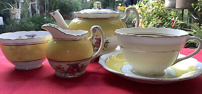 Vintage Foley Bone China Cup/Saucer TeaPot YellowWhite Floral Spray With Gilding • 30£