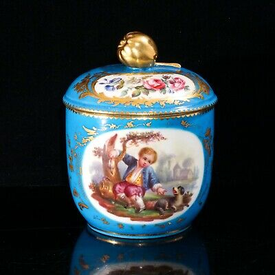 Sevres Bleu Celeste Sugar Pot With Cover, Decorated With Gilt And Painted Panels • 300£