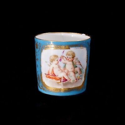 Antique Sevres Bleu Celeste Cup/ Coffee Can Decorated With Cherubs • 150£