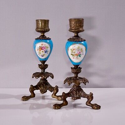 Pair Of Antique Sevres Style Bleu Celeste Porcelain And Ormolu Candle Holders • 200£