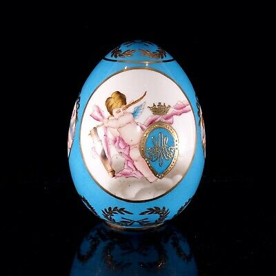 Sevres Bleu Celeste Porcelain Egg With Cherubs &Marie-Antoinette Monogram, Lot 1 • 500£