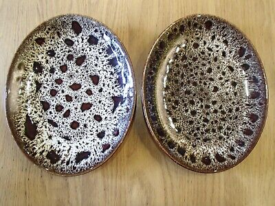 Fosters Pottery Cornwall Brown Honeycomb X2 Oval Steak Dinner Plates 11  X 8.5  • 20£