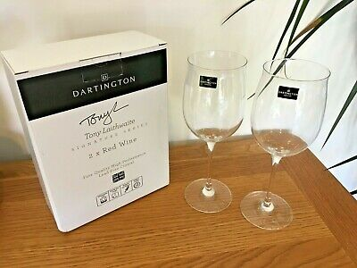 BNIB Quality Pair Set 2 Dartington Crystal Long Stemmed Red Wine Glasses In Box • 15£