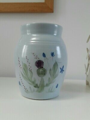 Vintage Scottish Buchan Pottery Large 7.5  19cm Thistle Jar /Vase. • 34£