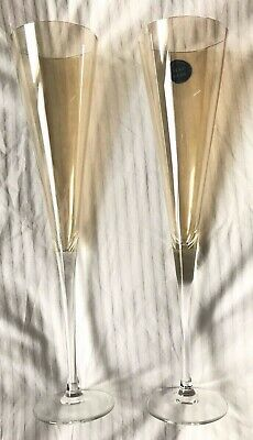 Champagne Flutes M&S Hand-made Iridescent Peach Colour Never Used • 2.99£