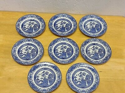 Set Of 8 Staffordshire Willow Pattern Blue & White 7 Inch Plates  • 29.95£