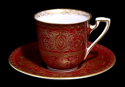 Royal Worcester Pattern C2050 Ruby Red And Gold Demitasse Cup And Saucer 1929 • 25£
