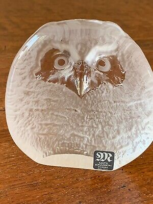 Mats Jonasson Signed Full Lead Crystal Owl Paperweight Sculpture • 7.10£