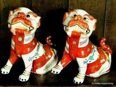 Herend Porcelain, Pair Of Foo Dogs (Fo Lions), 6.25  H, Blue Backstamp. Pristine • 860£