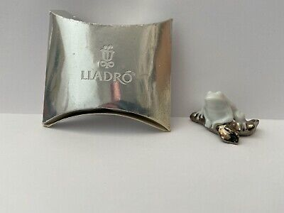 Boxed Miniature Lladro Off-White & Silver Frog • 35£