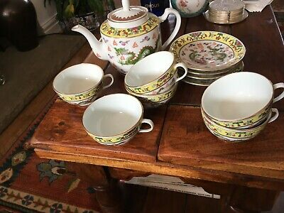Chinese Teapot, 6 Saucers And 4 Cups, Edged In Gilt, Attractive Oriental Design • 6£