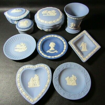 Nine Pieces Of Blue Wedgwood Jasper Ware - Dishes, Vase, Pots - Vgc • 40£