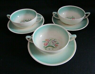 Susie Cooper Art Deco Green  Dresden Sprays - Three Soup Coupe's & Drip Stands • 30£