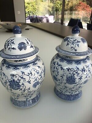 Pair Of large Painted Blue And White Ginger Jars 10  High • 30.99£