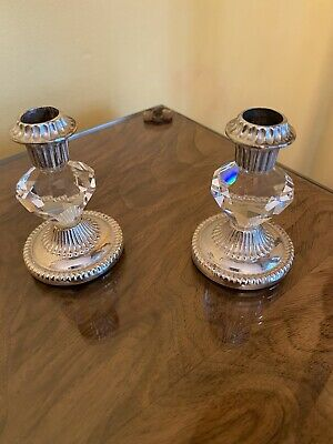 Cut Glass Crystal And Silver Plated Candle Stick Holders Beautiful  • 0.99£