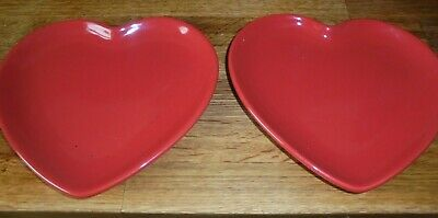 Two Red Flora Plates Heart Shape.   PERFECT          G • 9.99£