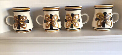 4 X The Monastery Rye Cinque (Studio) Pottery Hand Painted Mugs.  Height 11cm • 10£
