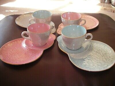 Maling Newcastle Pink & Blue Lustre Ware Tennis/snack Sets X 4 • 22£