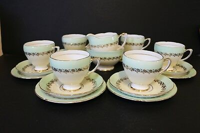 Royal Grafton Tea Set Yellow Green Gold Flowers Pretty Cup Saucer Milk Sugar • 35£
