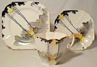 SHELLEY SUNRISE AND TALL TREES TRIO QUEEN ANNE SHAPE No.11678 C.1929 VINTAGE • 64.99£