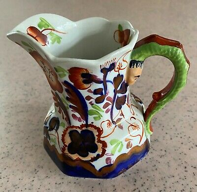 Antique Victorian Gaudy Welsh Pottery Jug By Allertons Hand Painted Worm Handle. • 20£