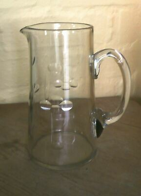 Old Hand Blown Glass Water Jug With Cut Design  • 10£
