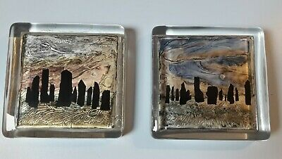 2 X Heavy Glass Miree Design Hand Painted Coasters Made In Scotland • 10£