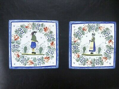 Pair Henriot Quimper Brenton Woman Man Pottery Tiles Only One Is Marked 4 5/8  • 26.83£