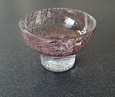 Small Pink & Clear Crackle Glass Bowl • 9.99£