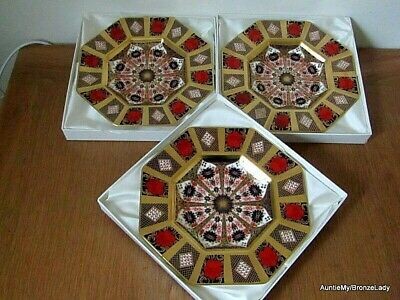 RCD 3 Solid Gold Band Octagonal Plates, SGB Old Imari 1128, 1st Quality. Boxed   • 555£