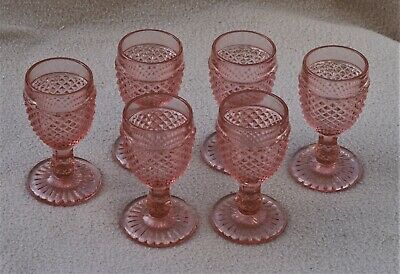 Antique Art Deco Sowerby Pink Glass Set Of 6 Wine Glasses • 60£