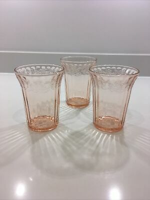 Jeannette Glass Cherry Blossom Pink Depression Tumblers X3 American USA 30s • 15.95£