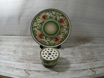 Jersey Pottery - Cake Plate & Flower Posy Holder - Hand Painted  • 8.99£
