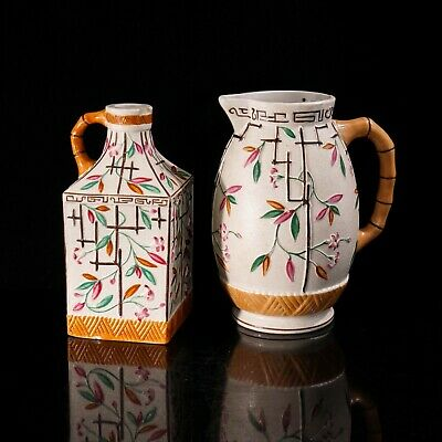 Pair Of Brownhill Pottery Jugs With Bamboo Handles And Oriental Pattern C1872-96 • 50£