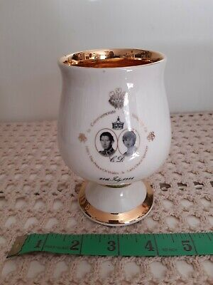 Prinknash Pottery Princess Di Royal Wedding Goblet White • 10£