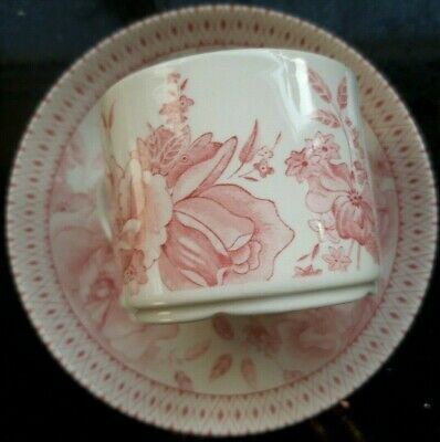 2x Collectable Wade Chintz Pink & White Floral Cups & Saucers • 18£