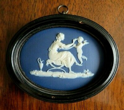 Antique  Early 19thc Wedgwood Blue Jasperware Plaque  Sportive Love  Hackwood  • 85£