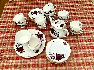 Vintage Colclough Amoretta Red Roses Bone China 36 Piece Part Tea Set 7906 • 27£